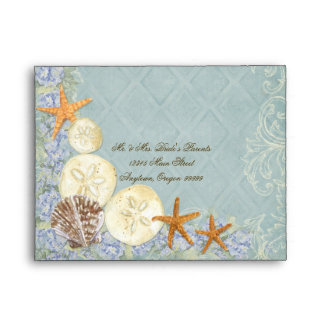 Floral Cottage by the Sea Shells Beachy Wedding Envelope