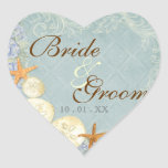 Floral Cottage by the Sea Shells Beachy Wedding Heart Sticker