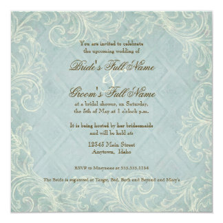 Floral Cottage by the Sea Shells Beachy Wedding Invitation