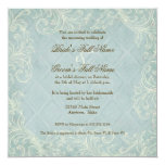 Floral Cottage by the Sea Shells Beachy Wedding 5.25x5.25 Square Paper Invitation Card