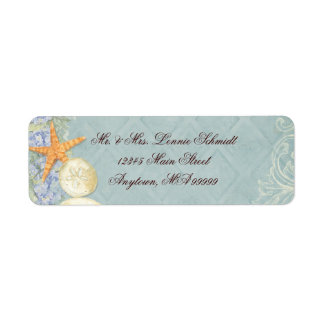 Floral Cottage by the Sea Shells Beachy Wedding Label