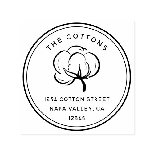 Floral Cotton Boll  Return Address Self_inking Stamp