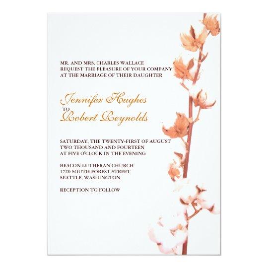 Floral Cotton Wedding Invitation