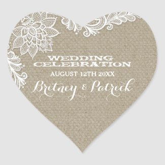 Floral Country Burlap and Lace Wedding Favors Heart Sticker