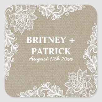 Floral Country Burlap and Lace Wedding Favors Square Sticker