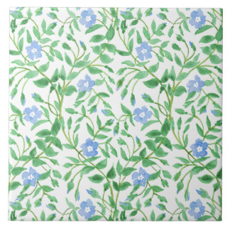 Floral Country-style Blue White Periwinkle Pattern Ceramic Tile
