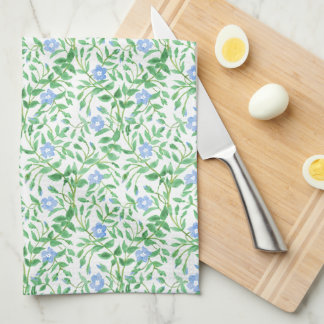 Floral Country-style Blue White Periwinkle Pattern Hand Towel