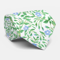 Floral Country-style Blue White Periwinkle Pattern Tie