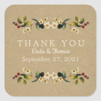 Floral Country Thank You Stickers