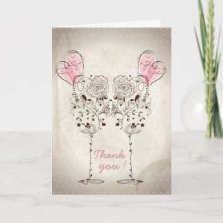 Floral Couple Glass Wedding Thank You Card
