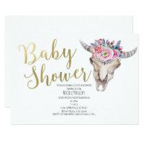Floral Cow Skull Gold Boho Baby Shower Invitation