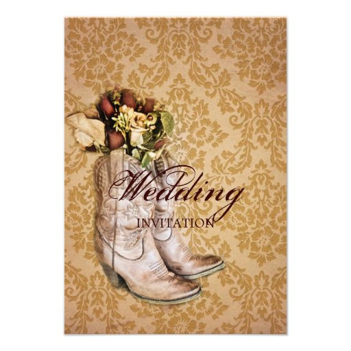 """Floral Cowboy Boots Western Country Wedding 3.5"""" X 5"""