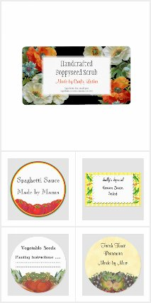 Floral Craft, Canning and Seed Saving Stickers