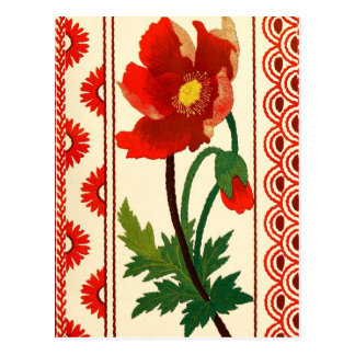 Floral Crewel Embroidery Postcard
