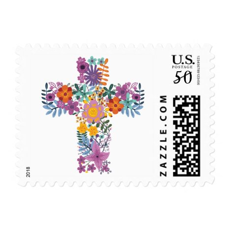 Floral Cross Baptism Easter First Communion Postage