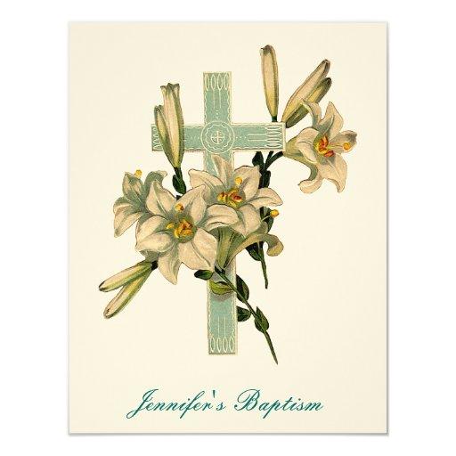 Floral Cross Baptism Invitation