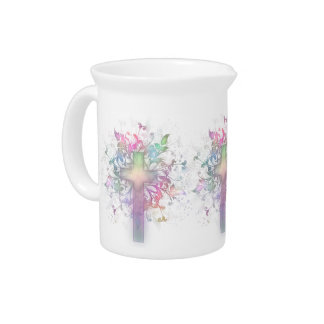 Floral Cross Beverage Pitcher