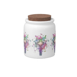 Floral Cross Candy Dish