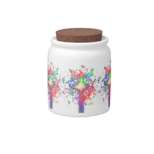 Floral Cross Candy Jars