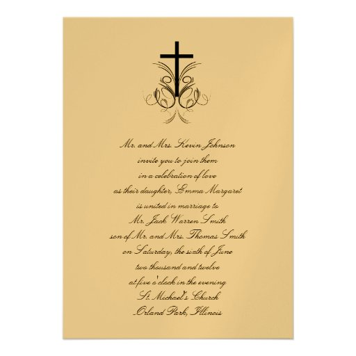 Floral Cross Christian Wedding Invitation Gold 5 Quot X 7