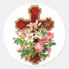 Floral Cross Classic Round Sticker
