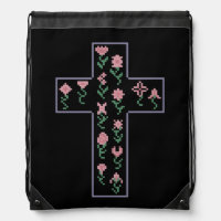 Floral Cross Drawstring Bag