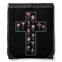 Floral Cross Drawstring Bag