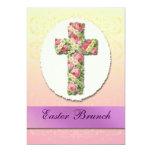 """Floral Cross Easter Brunch Custom Invitations 5"""" X 7"""" Invitation Card"""