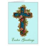 Floral Cross Easter Greetings Card
