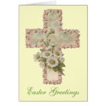 Floral Cross Easter Greetings Greeting Card