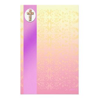 Floral Cross Elegant Pastel Stationery