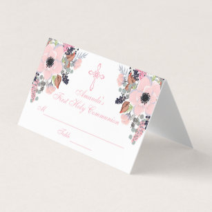 floral cross first communion custom place card - Custom Place Cards