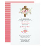 Floral Cross First Holy Communion Invitation Girl