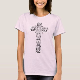 Floral cross ladies t-shirt