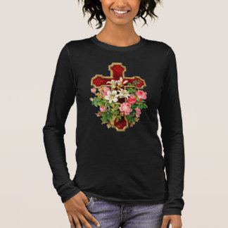 Floral Cross Long Sleeve T-Shirt