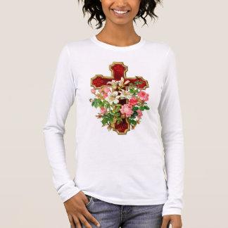 Floral Cross Long Sleeve T-Shirt