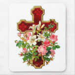 Floral Cross Mouse Pad