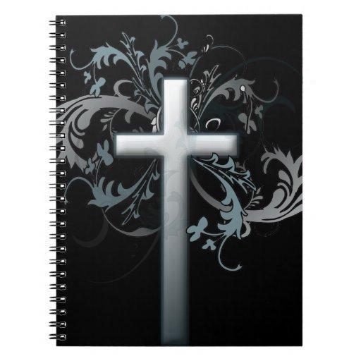 Floral Cross Spiral Notebook