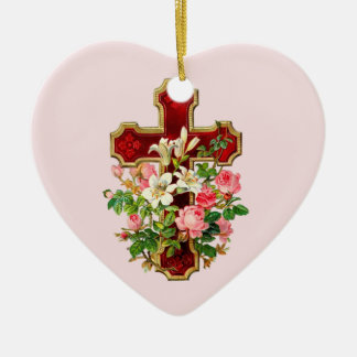 Floral Cross Double-Sided Heart Ceramic Christmas Ornament