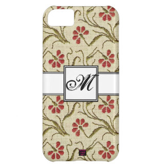 Floral Cross-stitch Design 5 with Monogram Case For iPhone 5C