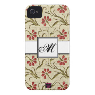 Floral Cross-stitch Design 5 with Monogram iPhone 4 Case-Mate Case