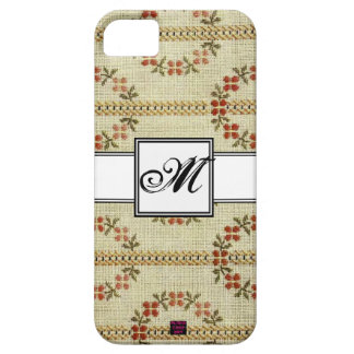 Floral Cross-stitch Embroidery Pattern w/ Monogram iPhone SE/5/5s Case