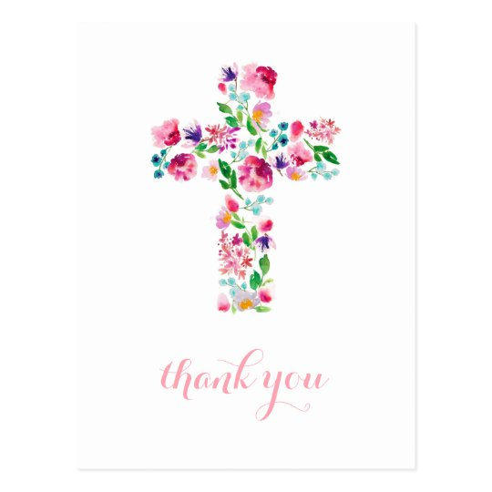 Floral Cross Thank You Note Christening Thank You Postcard Zazzle Com