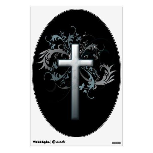 Floral Cross Wall Sticker