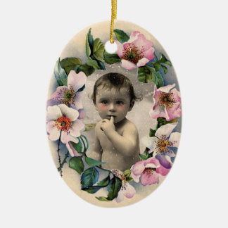 FLORAL CROWN,WILD ROSES BABY SHOWER PHOTO TEMPLATE CERAMIC ORNAMENT