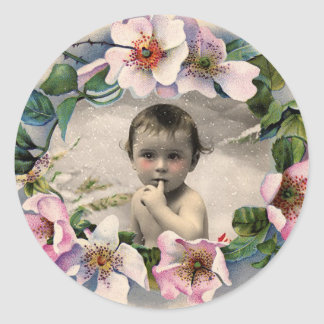 FLORAL CROWN,WILD ROSES BABY SHOWER PHOTO TEMPLATE CLASSIC ROUND STICKER
