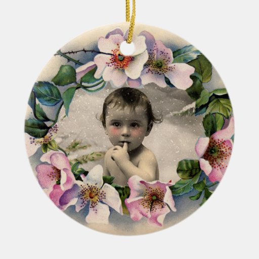 FLORAL CROWN,WILD ROSES BABY SHOWER PHOTO TEMPLATE Double-Sided CERAMIC ROUND CHRISTMAS ORNAMENT
