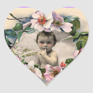FLORAL CROWN,WILD ROSES BABY SHOWER PHOTO TEMPLATE HEART STICKER