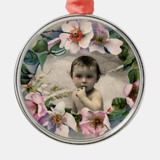 FLORAL CROWN,WILD ROSES BABY SHOWER PHOTO TEMPLATE METAL ORNAMENT