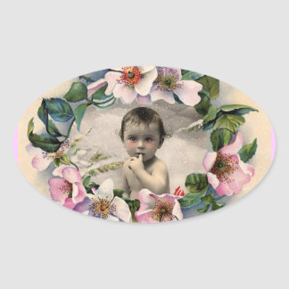 FLORAL CROWN,WILD ROSES BABY SHOWER PHOTO TEMPLATE OVAL STICKER
